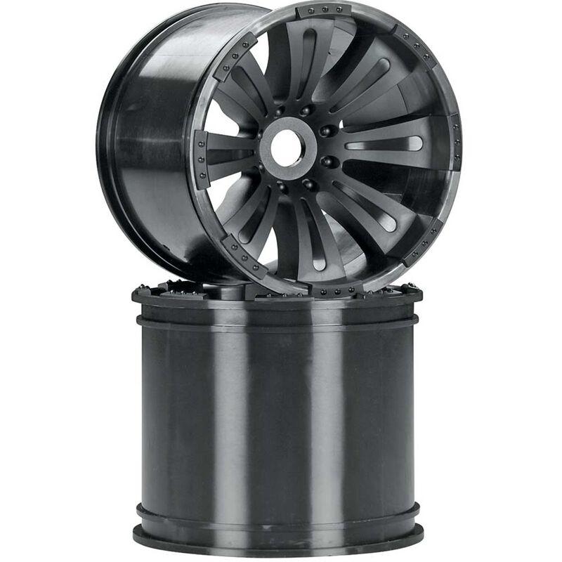 1/6-1/8 8-Spoke Oversize Wheels, 17 & 14mm Hex, Black (2)