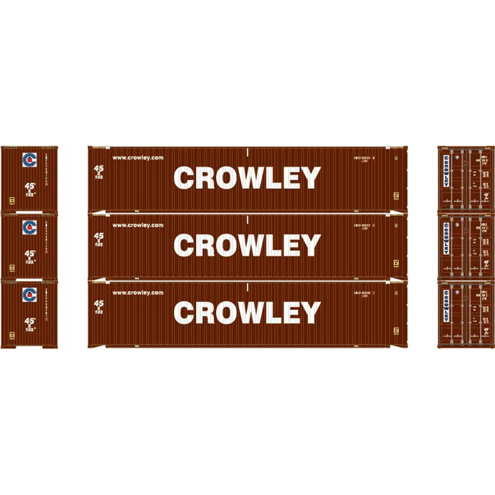 HO RTR 45' Container, Crowley #2 (3)
