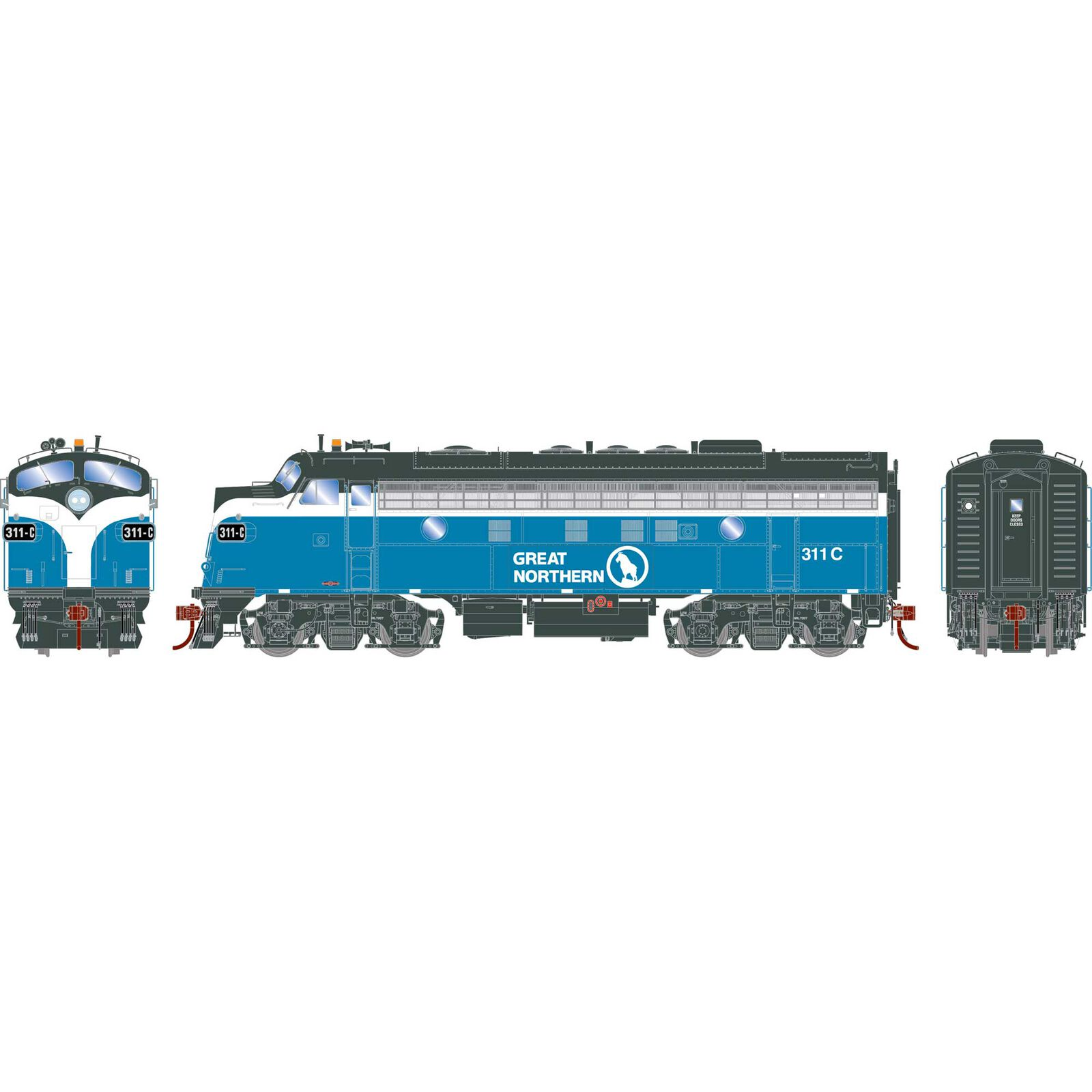 HO F7A GN Freight #311C