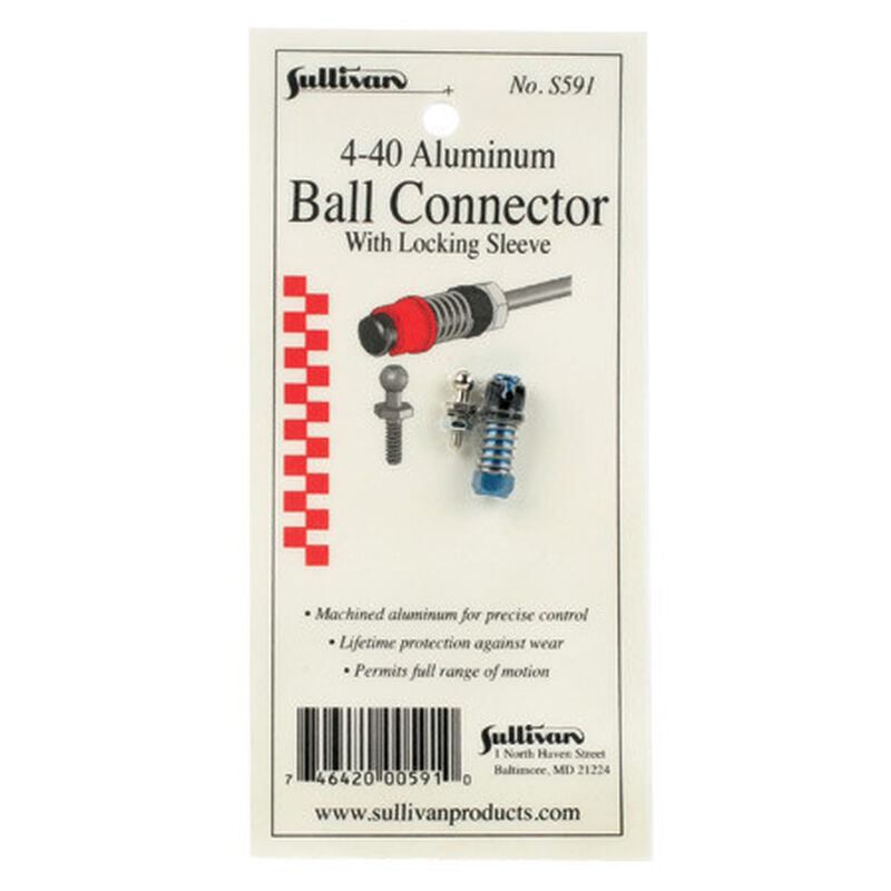 4-40 Aluminum Ball Link with Locking Sleeve (Blue)