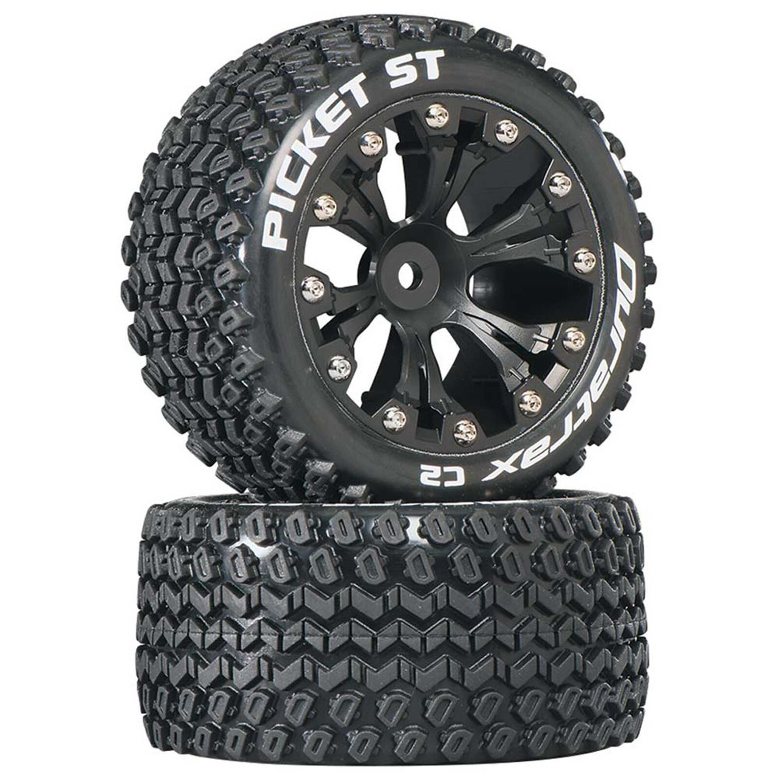 """Picket ST 2.8"""" 2WD Mounted Rear C2 Tires, Black (2)"""