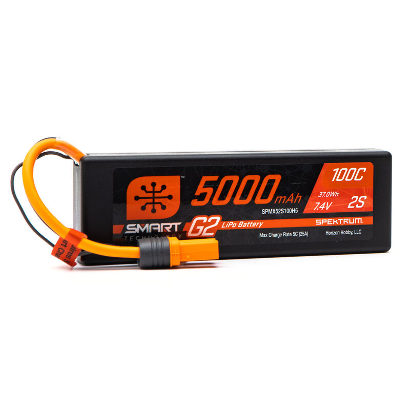 7.4V 5000mAh 2S 100C Smart G2 Hardcase LiPo Battery: IC5