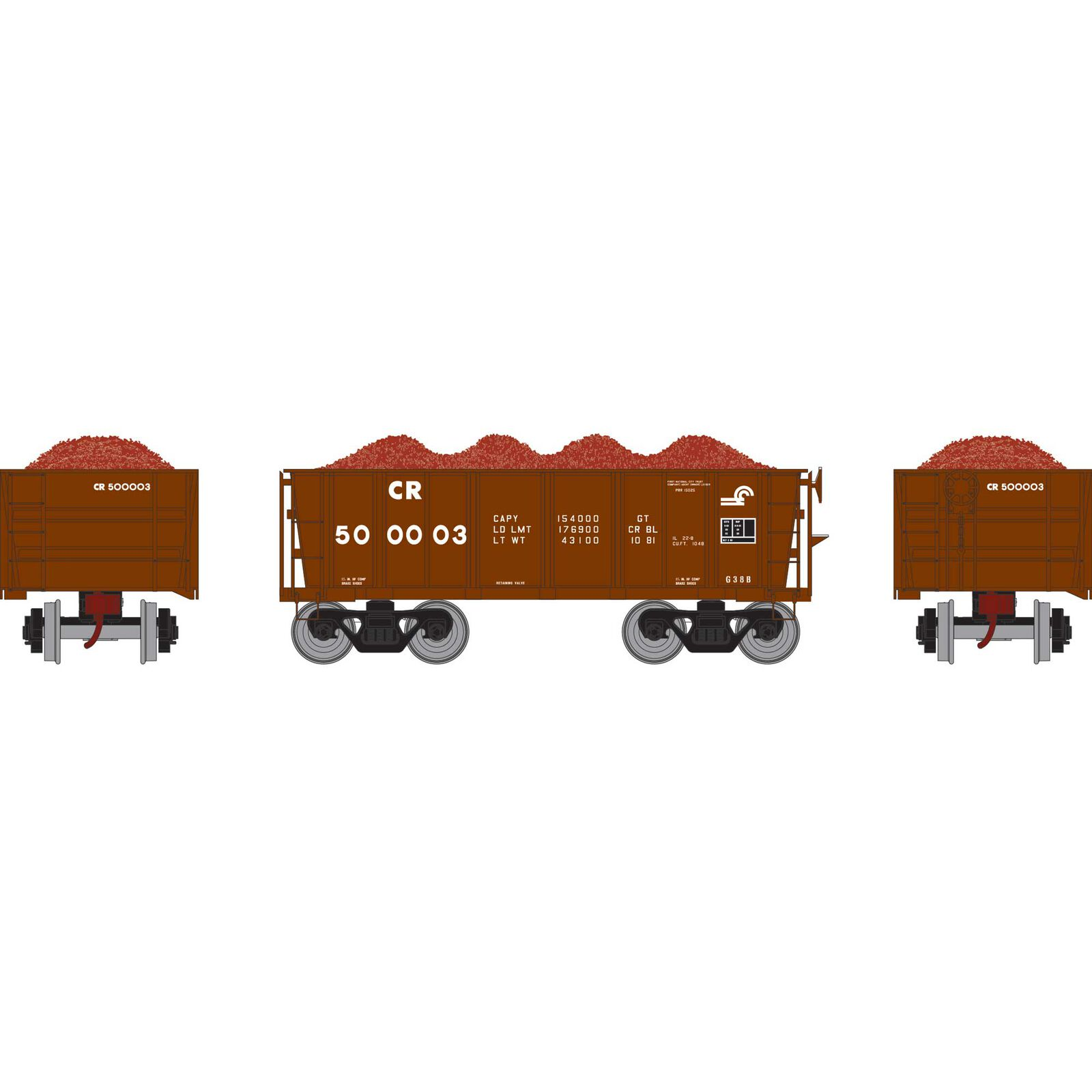 HO RTR 26' Ore Car Low Side with Load, CR #500003