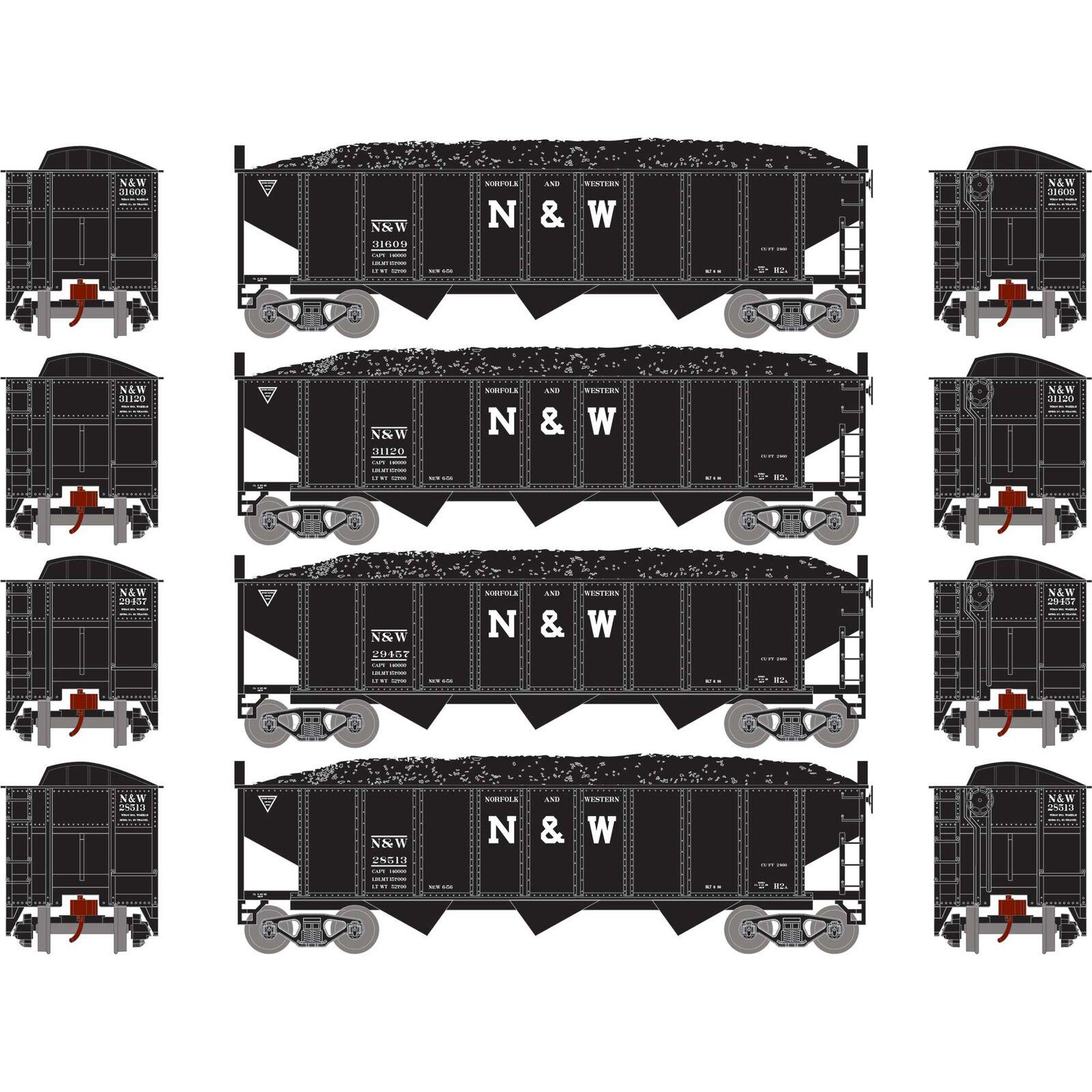 N 40' 3-Bay Ribbed Hopper with Load, N&W #1 (4)