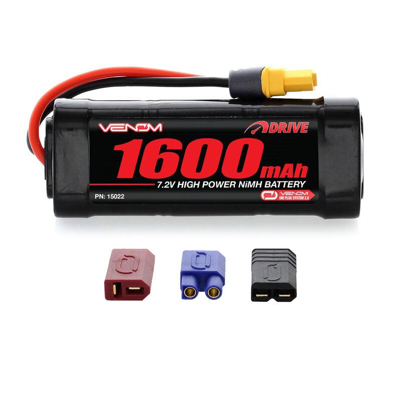 7.2V 1600mAh 6-Cell DRIVE 1/16 NiMH Battery: UNI 2.0 Plug