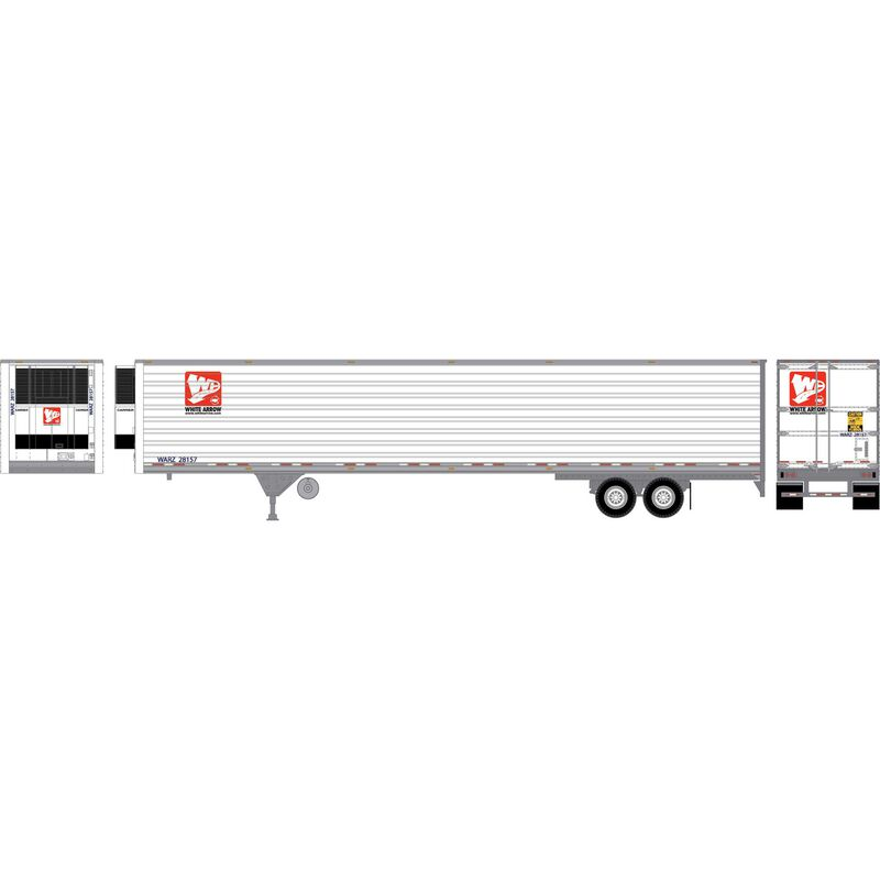 HO RTR 53' Utility Reefer Trailer White Arrow#28157
