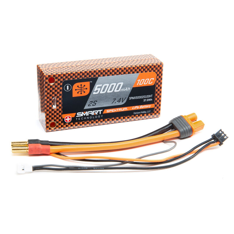 7.4V 5000mAh 2S 100C Smart Race Shorty Hardcase LiPo Battery: Tubes, 5mm