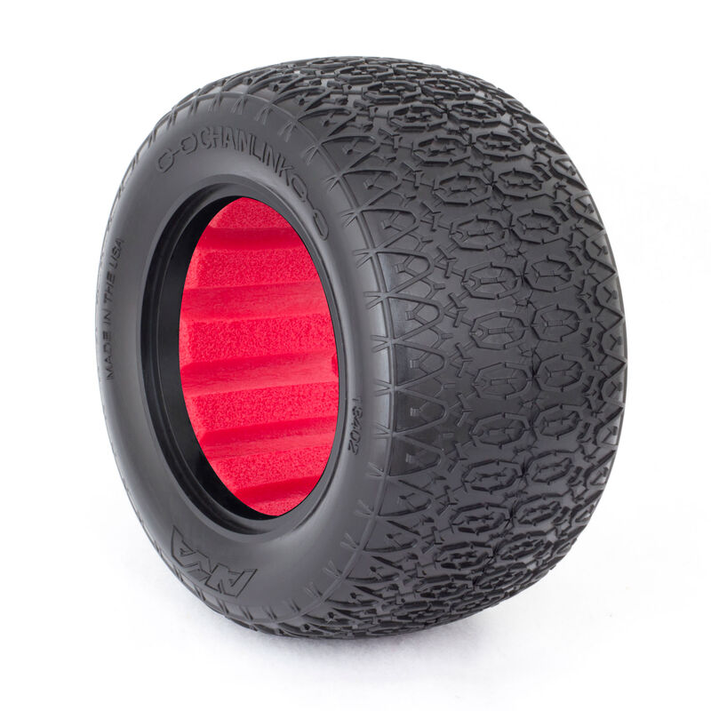 1/10 Chain Link Super Soft Front/Rear Tire with Red Insert: Stadium Truck (2)