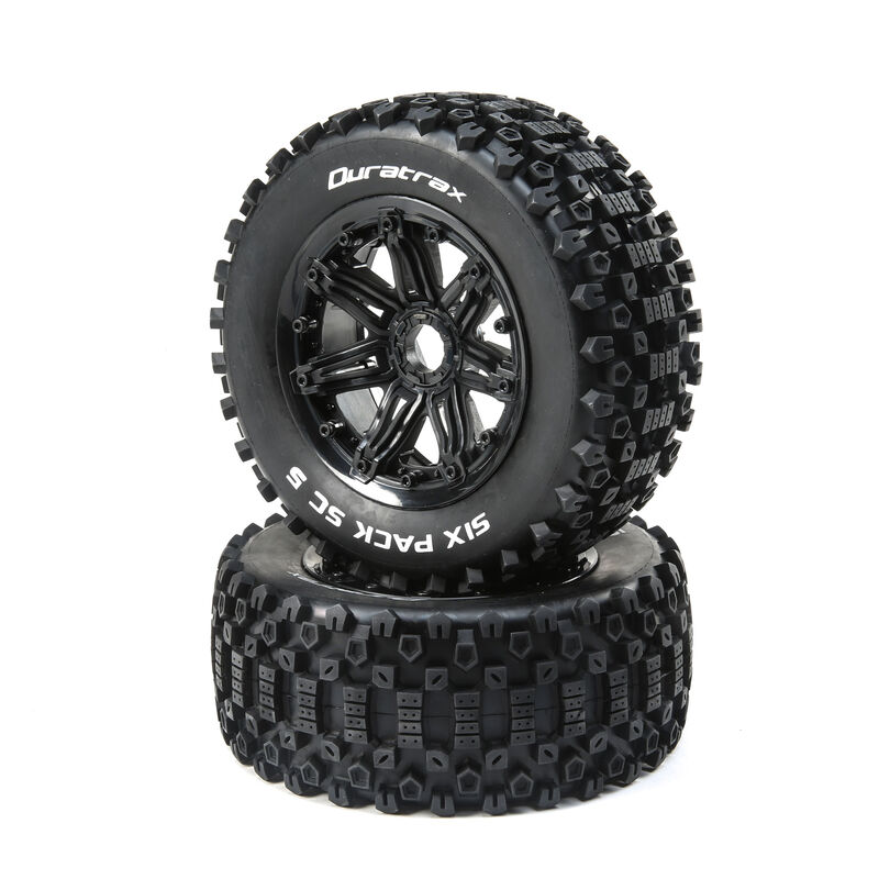 Six Pack 1/5 SC Sport Mounted Black Tires 24mm (2)