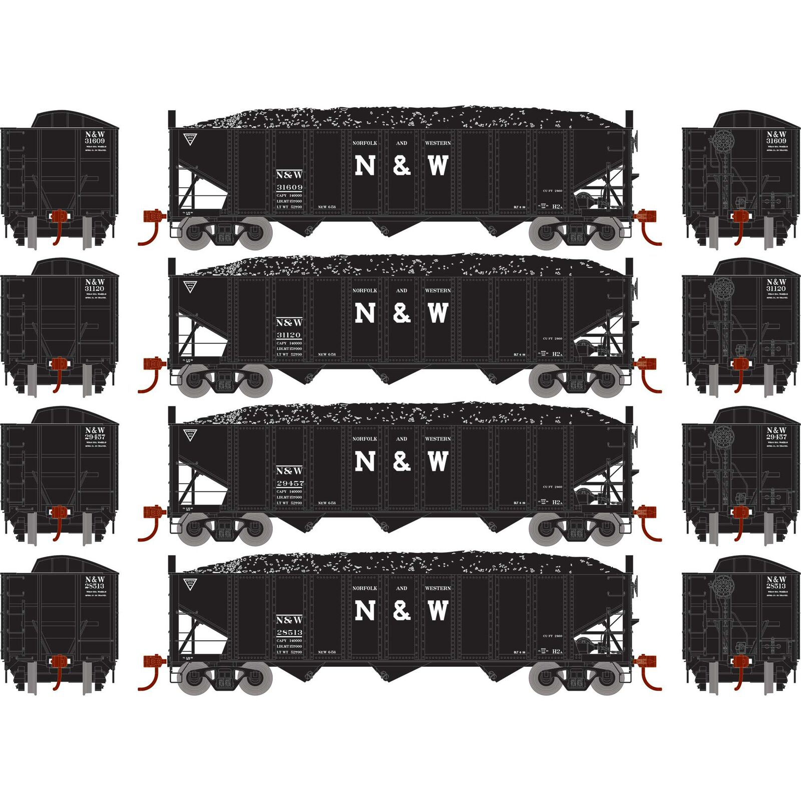 HO RTR 40' 3-Bay Ribbed Hopper with Load, N&W (4)