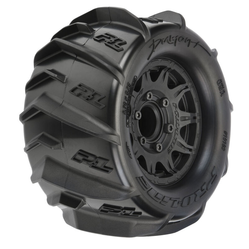 """1/10 Dumont Paddle F/R 2.8"""" Mounted MT 12mm Sand/Snow Tires (2) Black"""