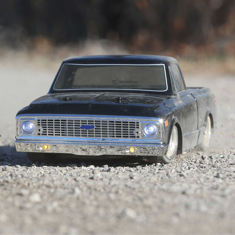 1/10 1972 Chevy C10 Pickup Truck V-100 S 4WD Brushed RTR, Black