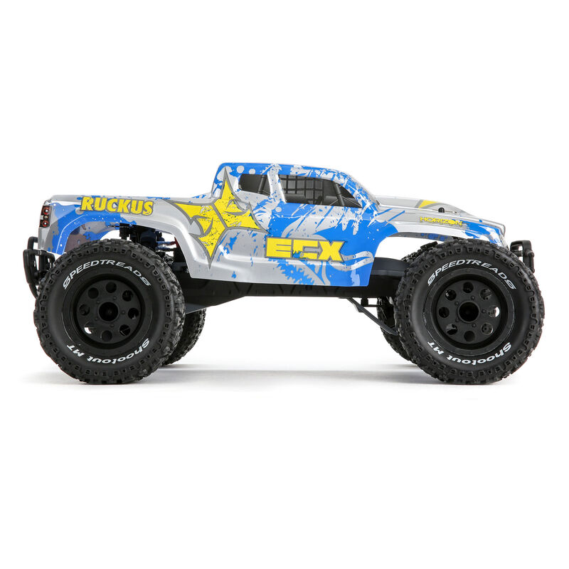 1/10 Ruckus 2WD Monster Truck Brushed with LiPo RTR, Silver/Blue