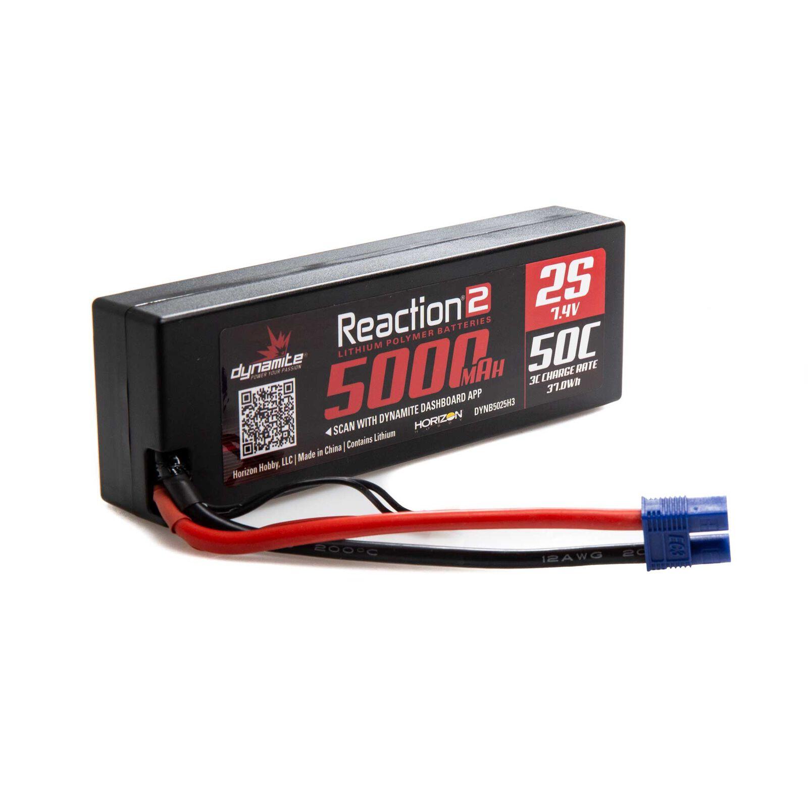 7.4V 5000mAh 2S 50C Reaction 2.0 Hardcase LiPo Battery: EC3
