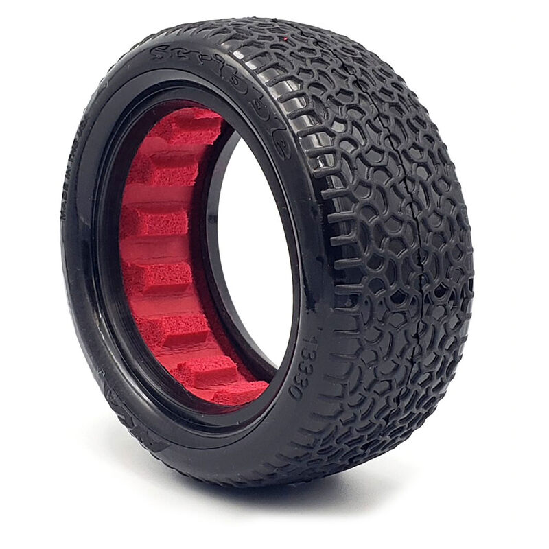 """Scribble 2.2"""" Clay Tires, 4WD Front with Red Insert (2): 1/10 Buggy"""