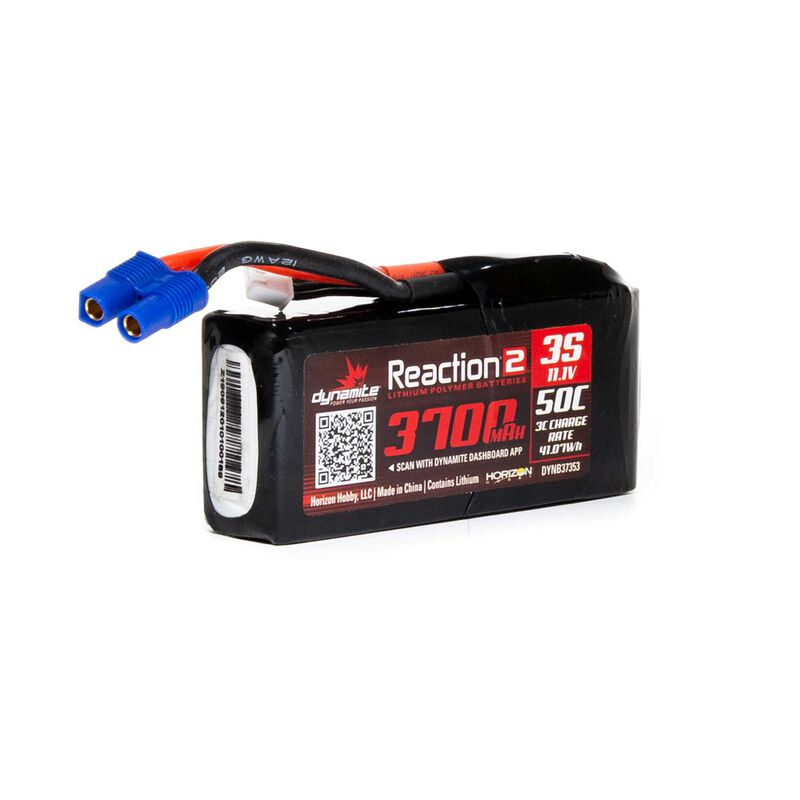 11.1V 3700mAh 3S 50C Reaction 2 LiPo Battery: EC3
