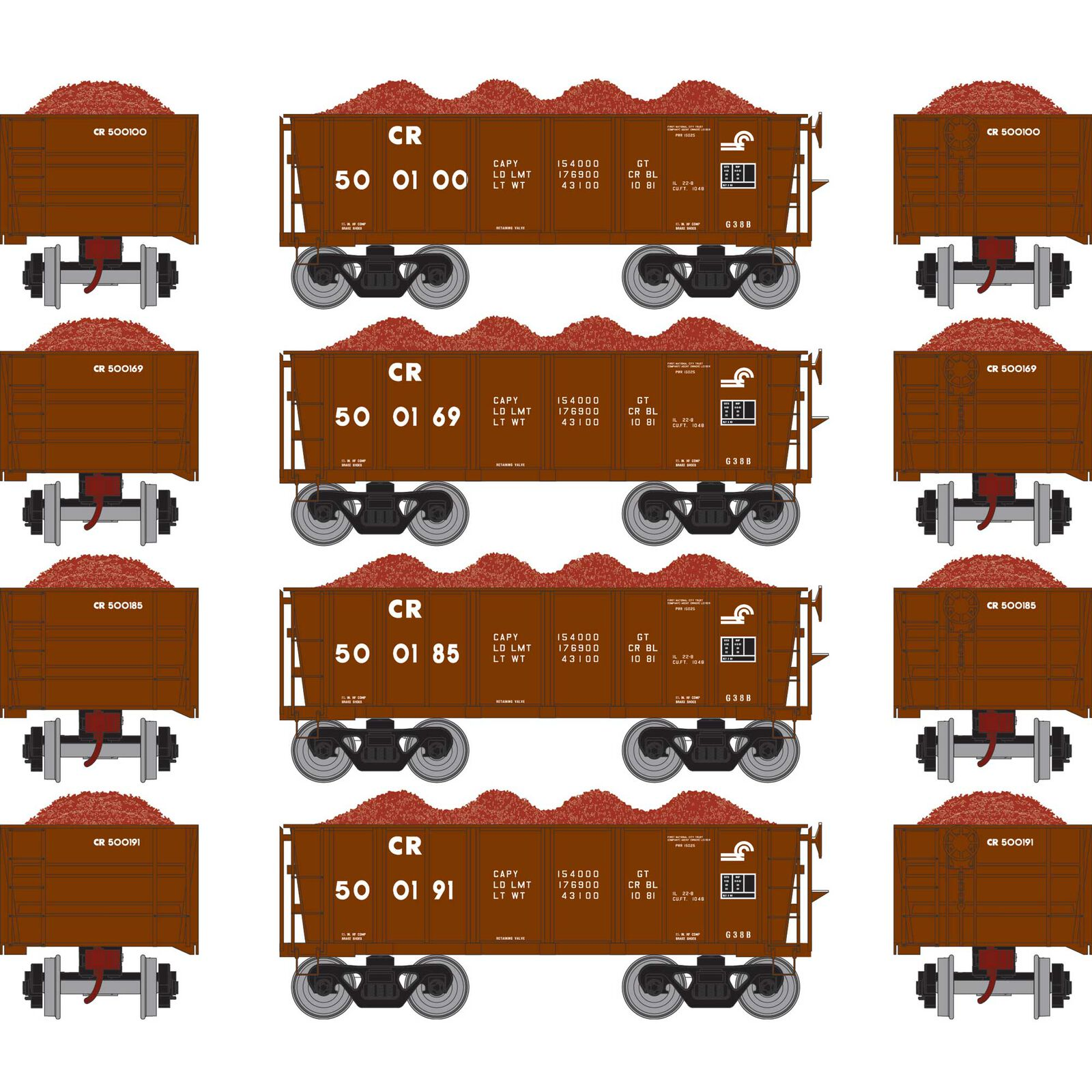 HO RTR 26' Ore Car Low Side with Load, CR #2 (4)