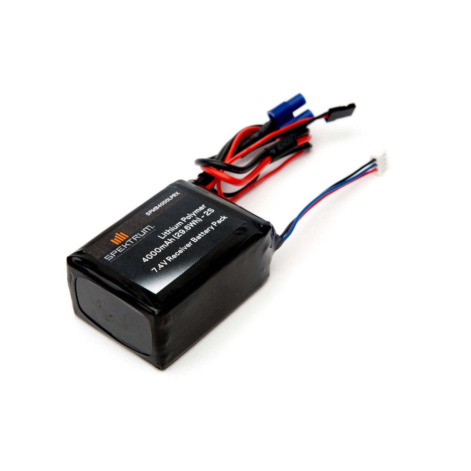 7.4V 4000mAh 2S LiPo Receiver Battery: Universal Receiver, EC3