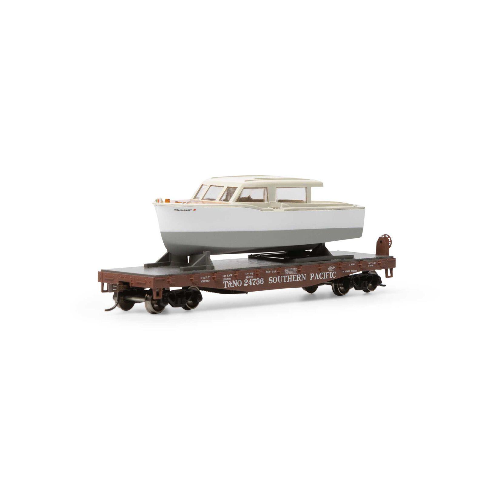 HO 40' Flat w White Boat SP T&NO #24736
