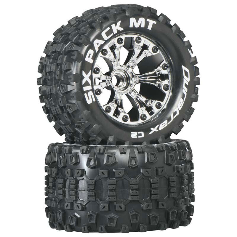 """Six-Pack MT 2.8"""" 2WD Mounted Front C2 Tires, Chrome (2)"""