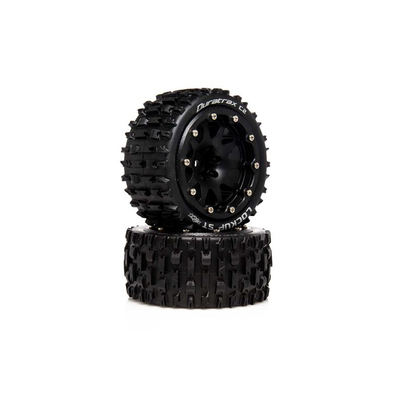 "Lockup ST Belted 2.8"" 2WD Mounted Rear Tires, .5 Offset, Black (2)"