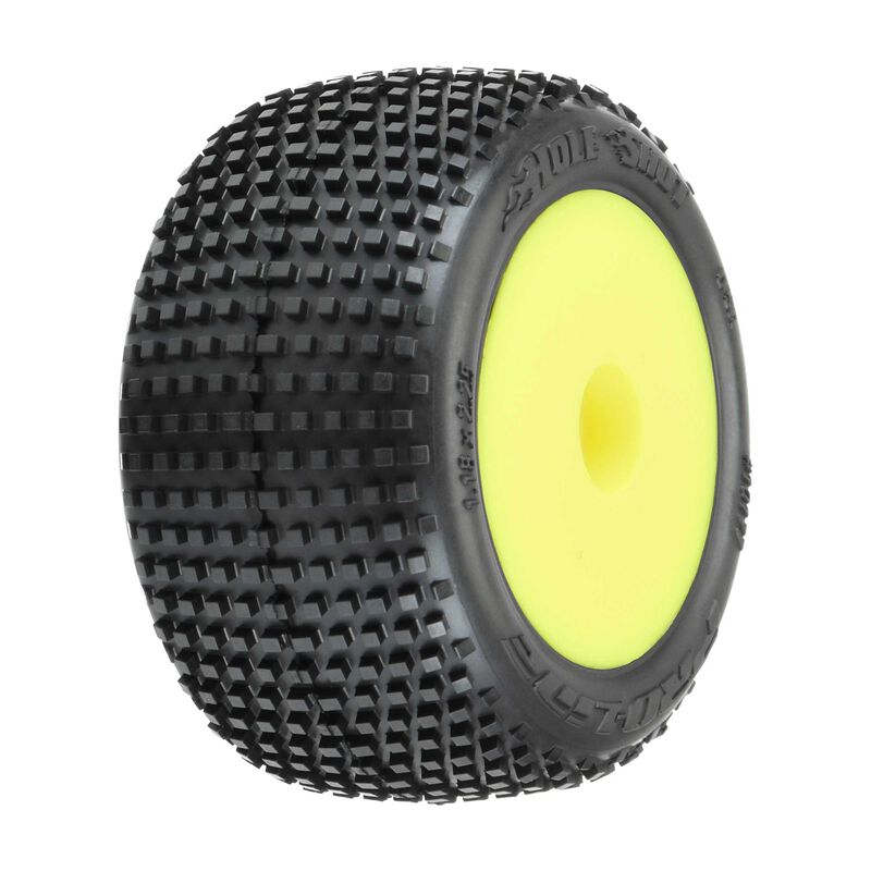 Hole Shot Mounted F/R Tires, Yellow: Mini-T 2.0