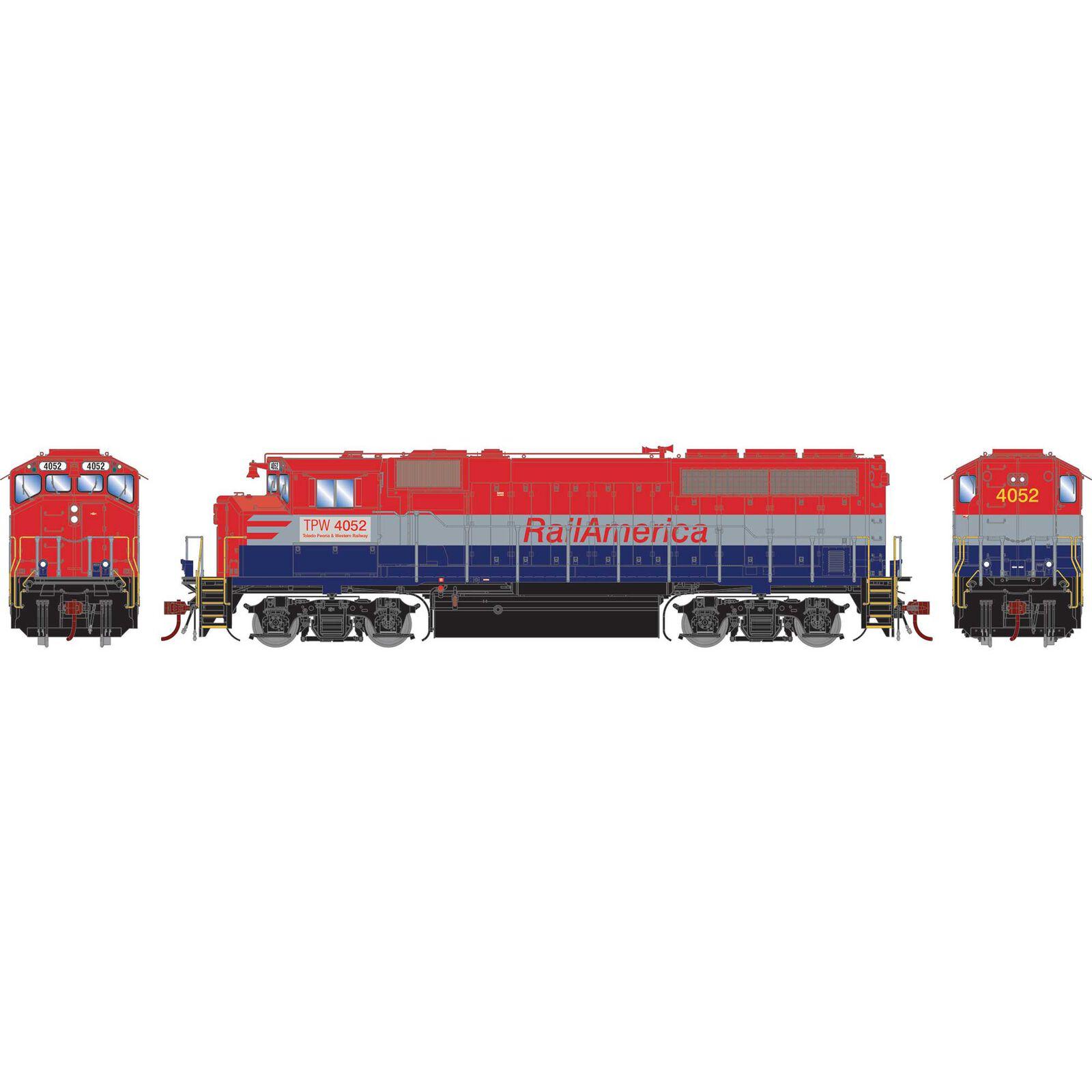 HO GP40-2L with DCC & Sound, Rail America/TP&W #4052