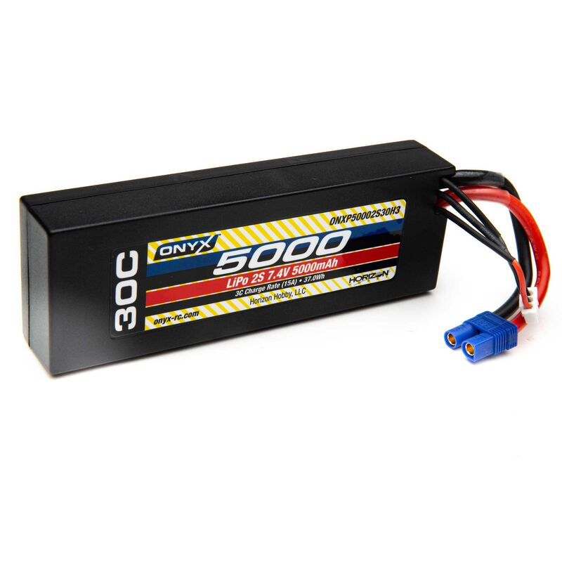 7.4V 5000mAh 2S 30C Hardcase LiPo Battery: EC3