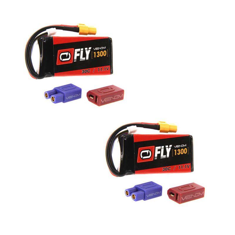 11.1V 1300mAh 3S 30C LiPo Battery: UNI 2.0 Plug (2)