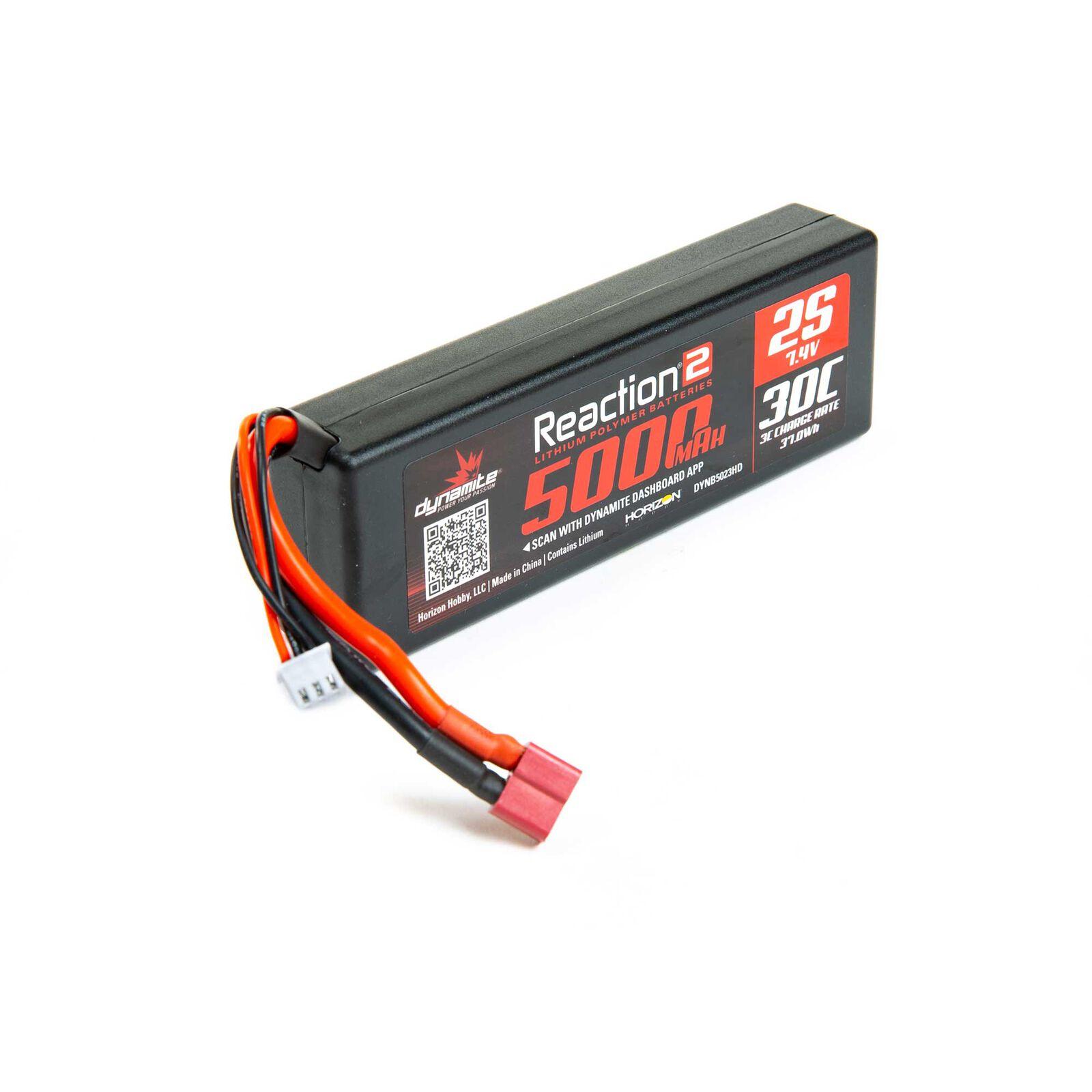 7.4V 5000mAh 2S 30C Reaction 2.0 Hardcase LiPo Battery: Deans