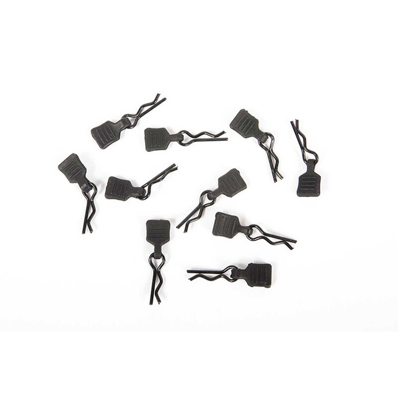 3mm Body Clip with Tab, Black (10)
