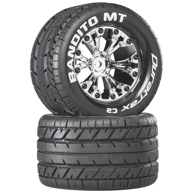 "Bandito MT 2.8"" 2WD Mounted Rear Tires, Chrome (2)"