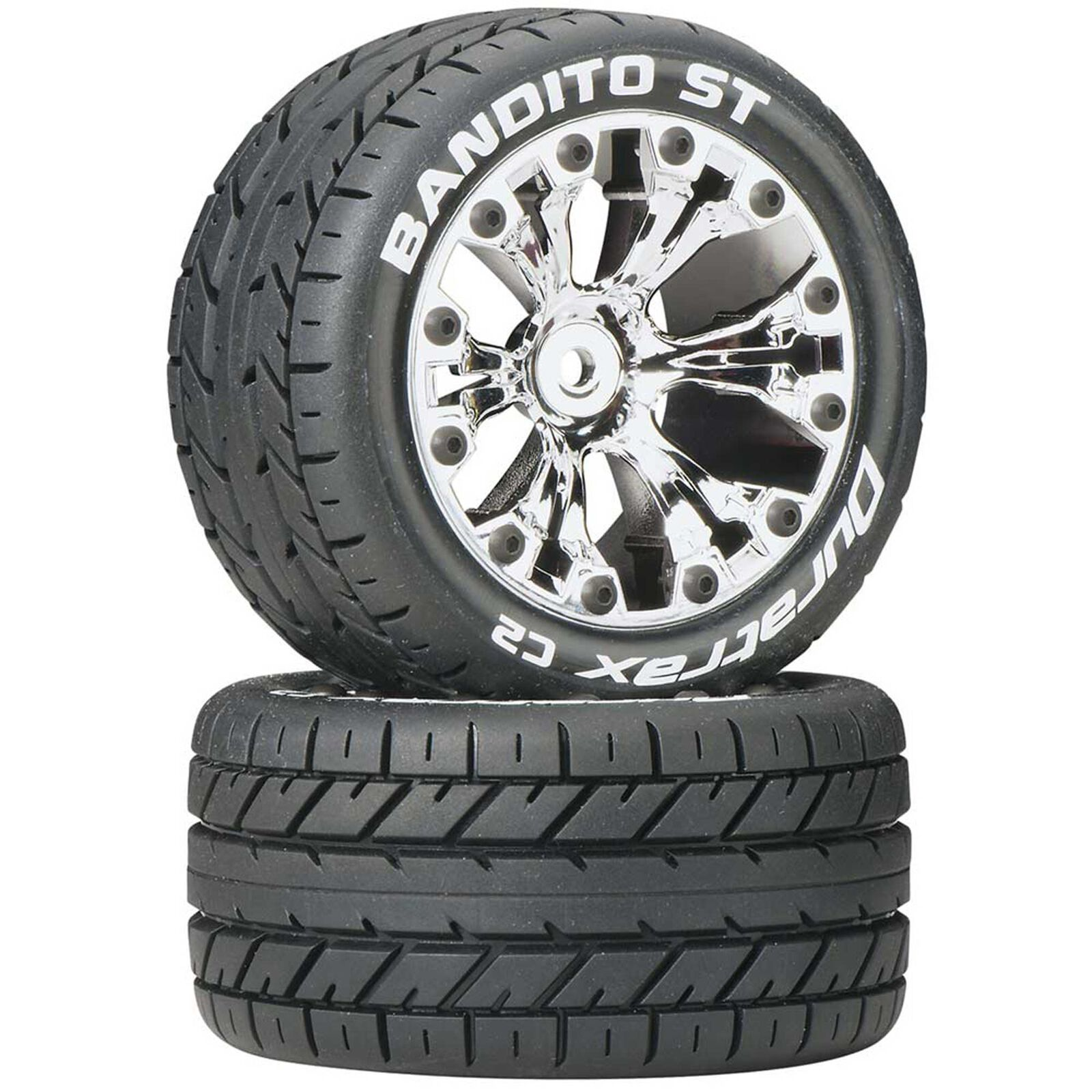 """Bandito ST 2.8"""" 2WD Mounted Rear C2 Tires, Chrome (2)"""