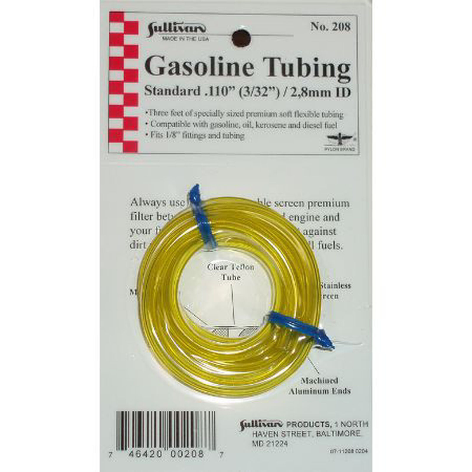 """Gas Tubing, 3', Medium, 3/32"""", Yellow"""
