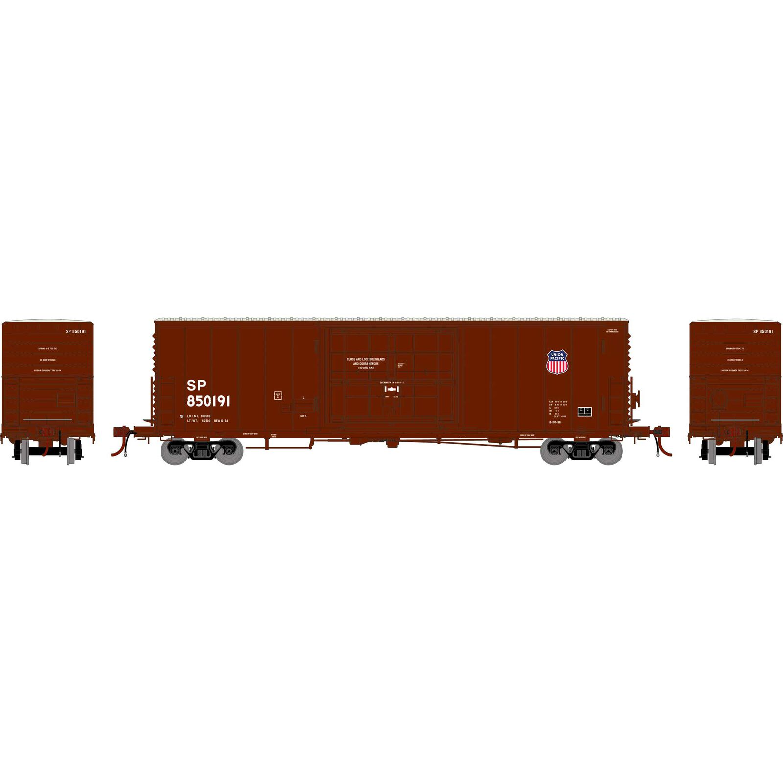 HO 50' PC&F SS Box with 14' Plug Door, UP/SP #850191