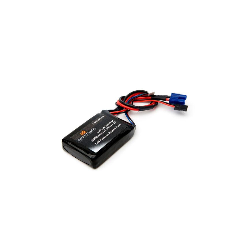7.4V 2000mAh 2S LiPo Receiver Battery: Universal Receiver, EC3