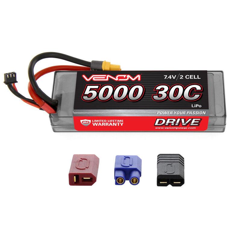 7.4V 5000mAh 2S 30C DRIVE Hardcase LiPo Battery: UNI 2.0 Plug