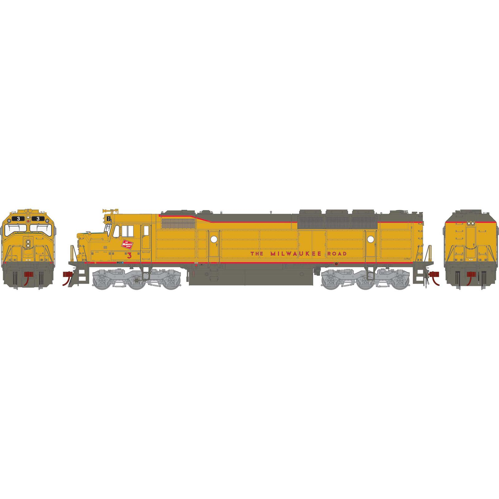HO FP45 with DCC & Sound, MILW/Yellow & Gray #3