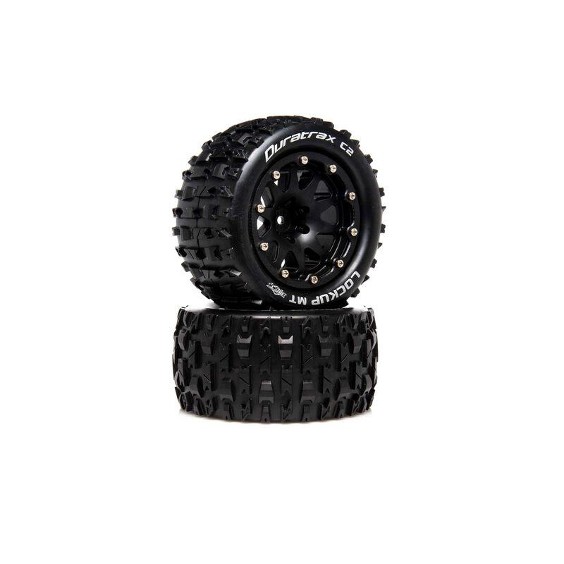 "Lockup MT Belted 2.8"" 2WD Mounted Rear Tires, .5 Offset, Black (2)"