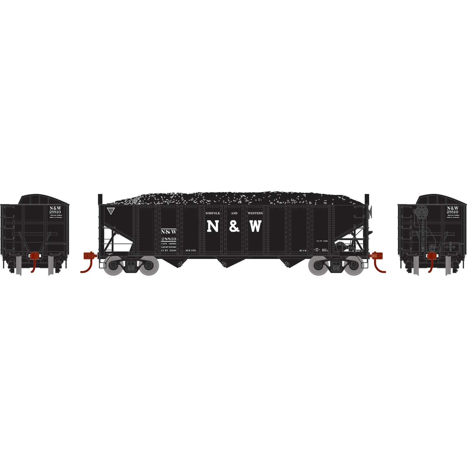 HO RTR 40' 3-Bay Ribbed Hopper with Load, N&W #28810