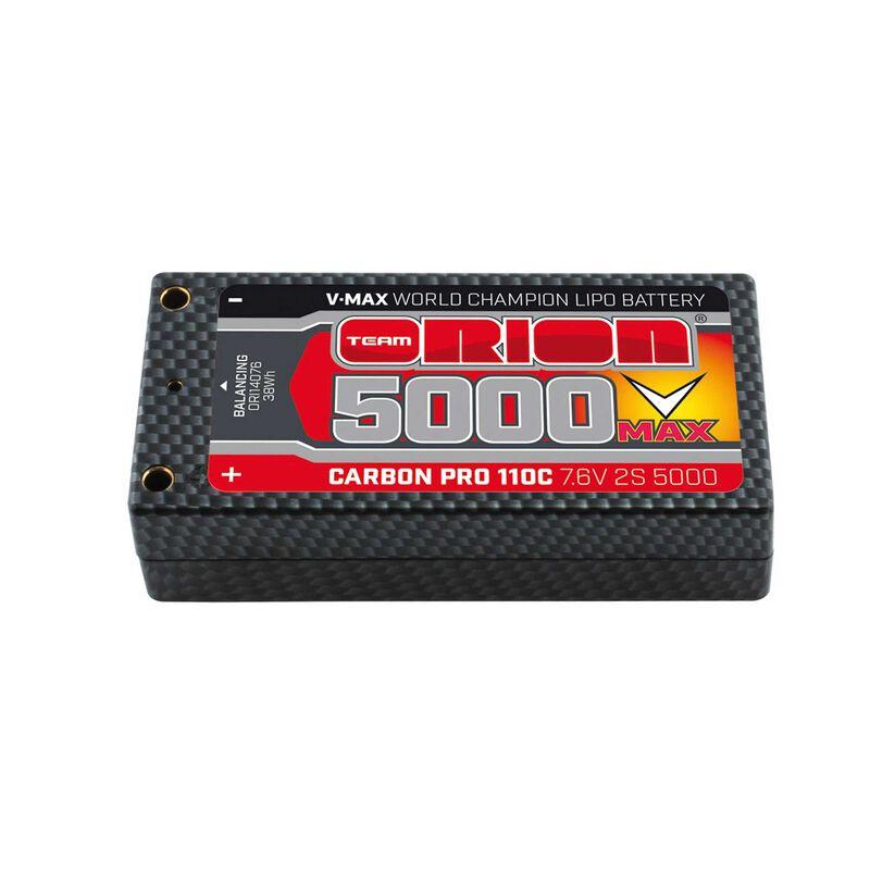 Carbon Pro V-Max 7.6V 5000mAh 110C 2S LiPo, Shorty Pack, Tubes