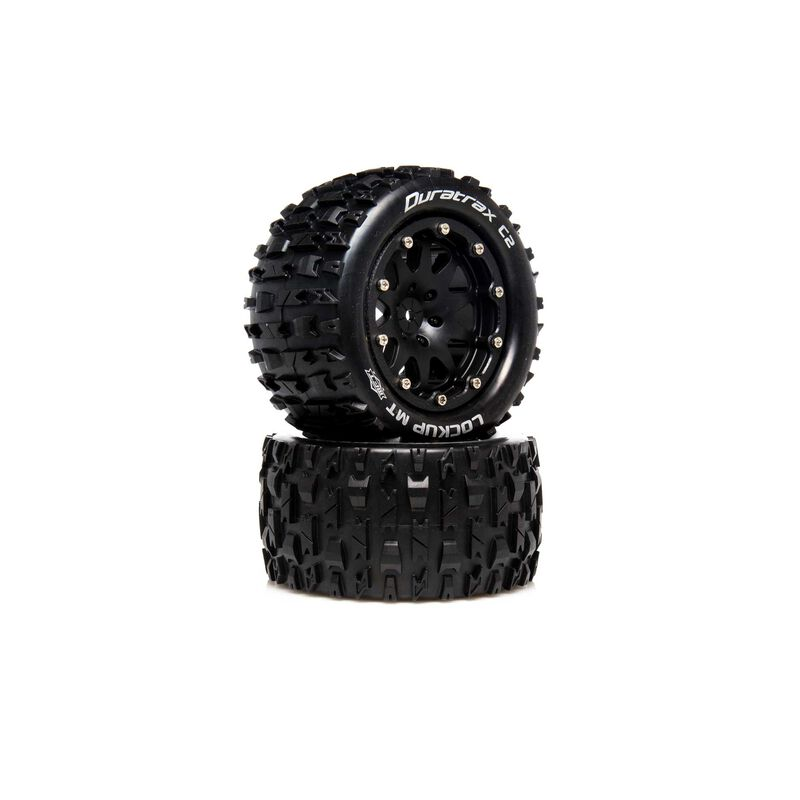 "Lockup MT Belted 2.8"" 2WD Mounted Rear Tires, 0 Offset, Black (2)"