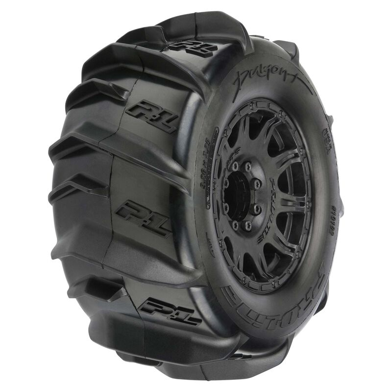 """Dumont 3.8"""" Paddle Mounted Front/Rear Raid Tires, Black 17mm (2)"""