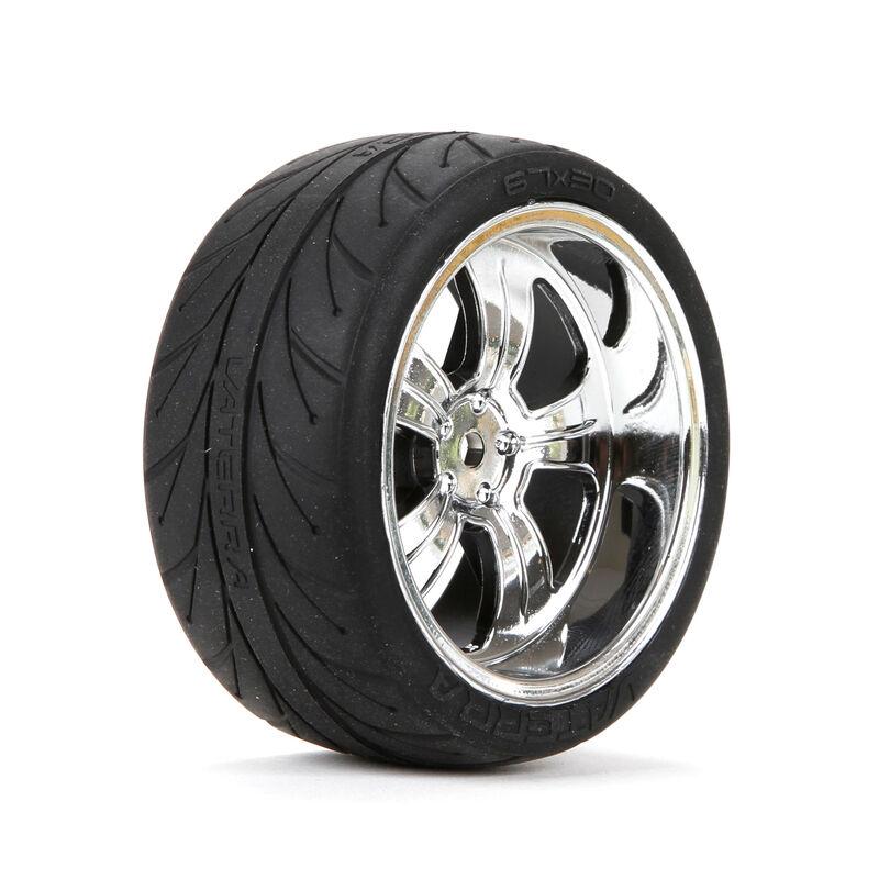 1/10 Rear 54x30mm 5-Spoke Premounted Tires, Chrome (2)
