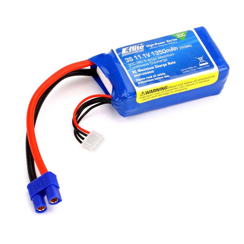 11.1V 1350mAh 3S 30C LiPo Battery: EC3