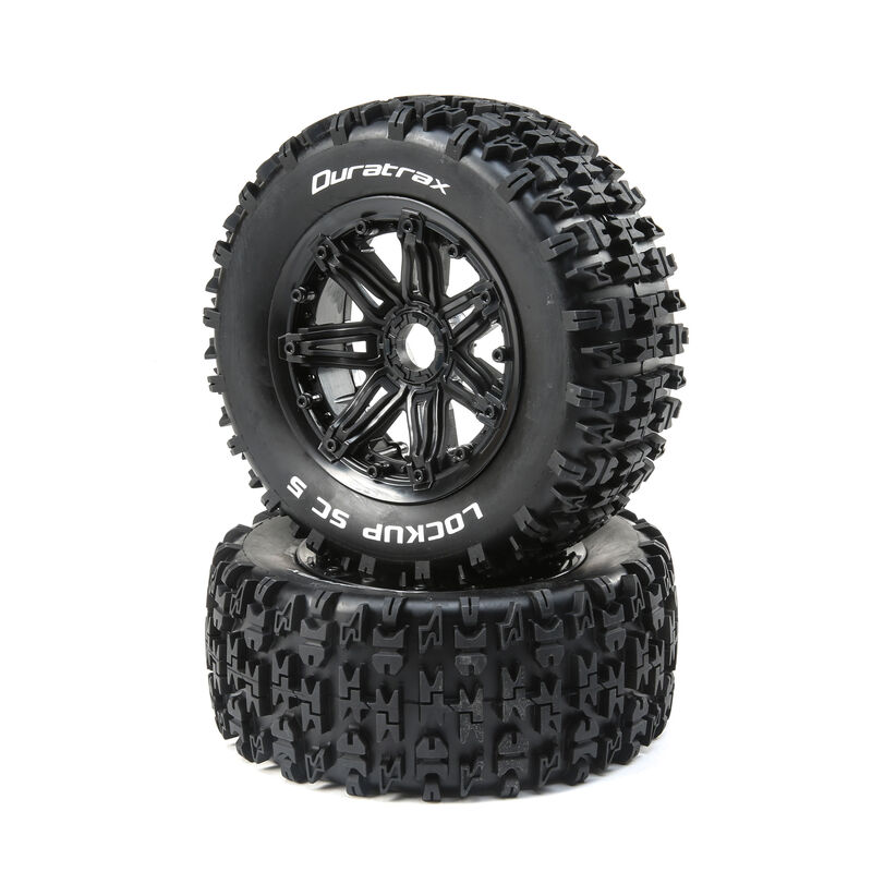 Lockup 1/5 SC Sport Mounted Black Tires 24mm (2)