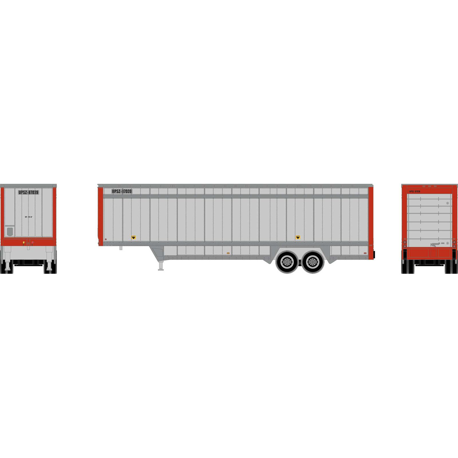 HO 40' Drop Sill Parcel Trailer, UPS/Red Ends#87039