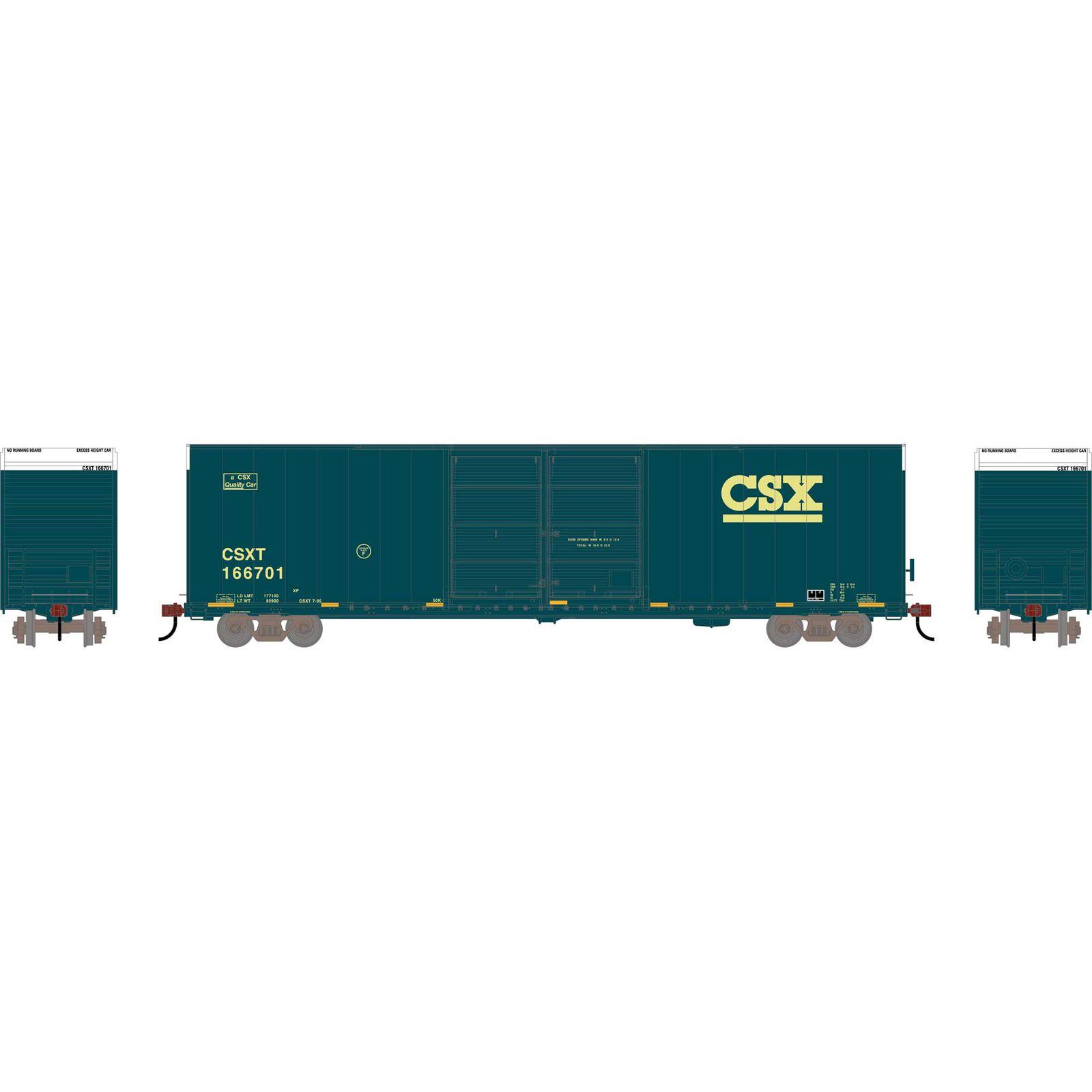 HO RTR FMC 60' DD/SS Hi-Cube Box, CSX #166701