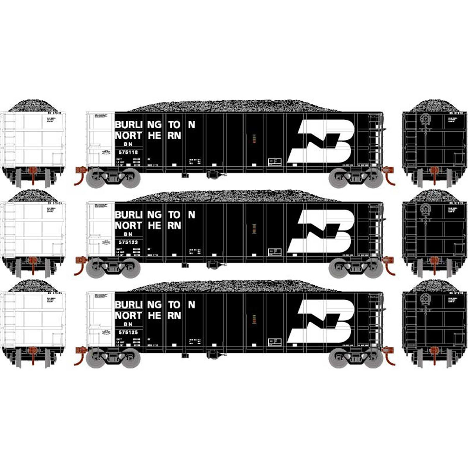 HO RTR Thrall High Side Gondola with Load, BN #3 (3)
