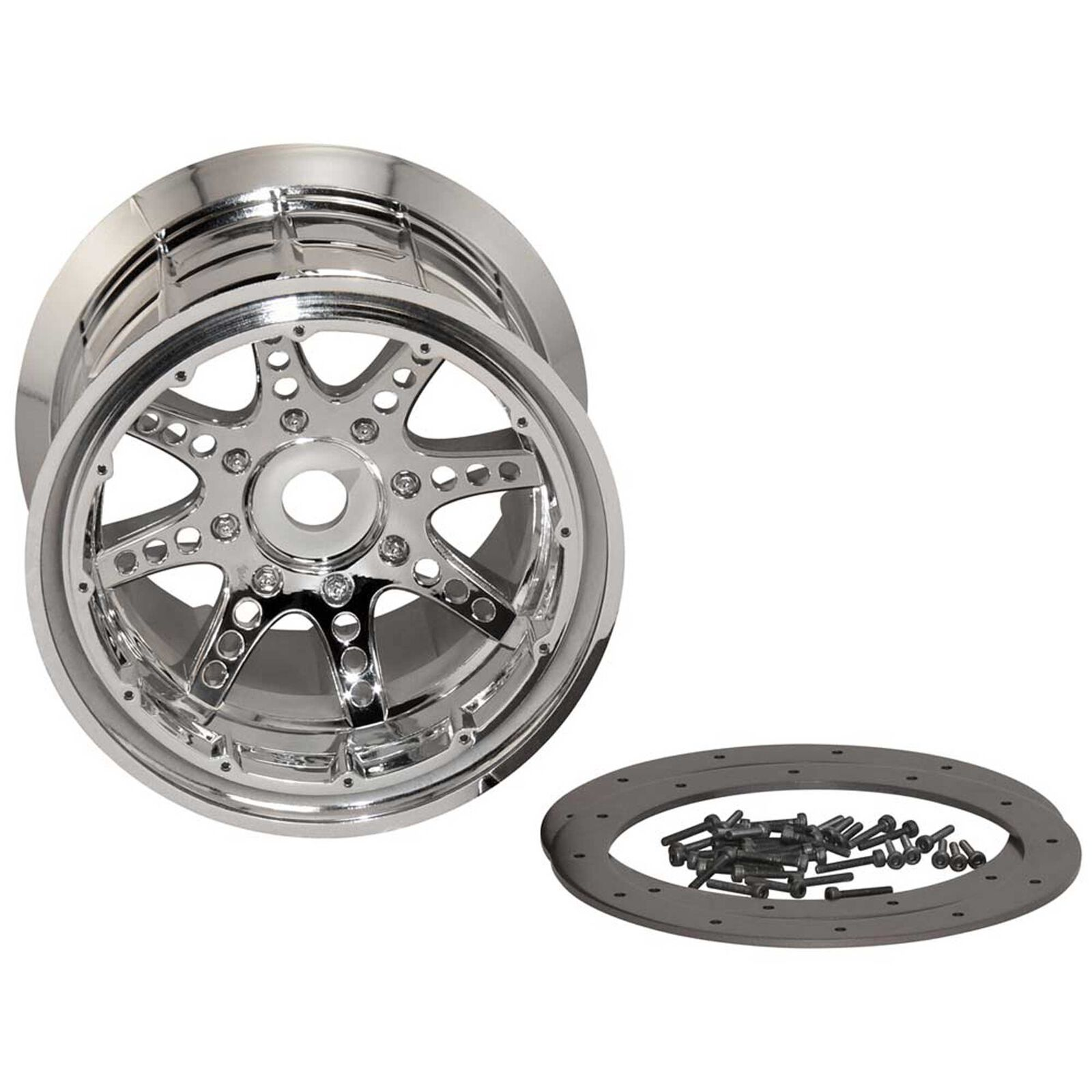 1/8 Oversize 8-Spoke 3.8 Beadlock Wheels, 17mm Hex, Chrome (2)